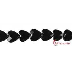 Strang Herz Onyx (gefärbt) facettiert 8 mm