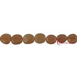 Strang Nuggets flach Mondstein orange 10-12 x 8-10 mm