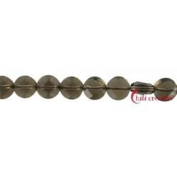 Strang Button flach Rauchquarz 10 x 5 mm
