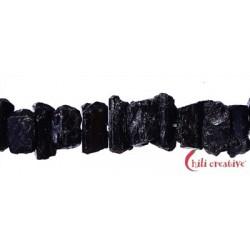 Strang Turmalin schwarzkristalle roh quer gebohrt 6-8 x 10-12 mm