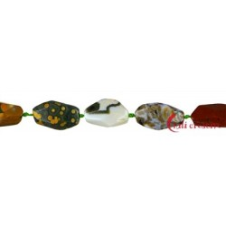 Strang Nugget Ozean-Achat (Chalcedon) grob facettiert 15-25 x 5-10 mm