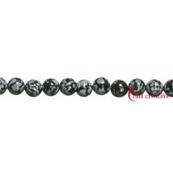 Strang Kugel Obsidian Schneeflocke 8 mm