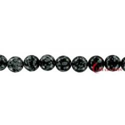 Strang Kugel Obsidian Schneeflocke 12 mm