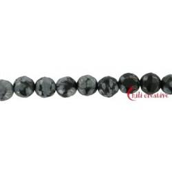 Strang Kugel Obsidian Schneeflocke facettiert 4 mm