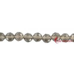 Strang Kugel Obsidian Rauch- facettiert 8 mm