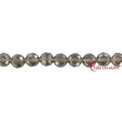 Strang Kugel Obsidian Rauch- facettiert 10 mm