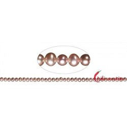 Strang rund Süßwasser-Perle A lila (natur) 4-4,5 mm
