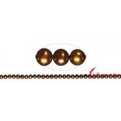 Strang rund Süßwasser-Perle A braun (gefärbt) 5,5-6 mm