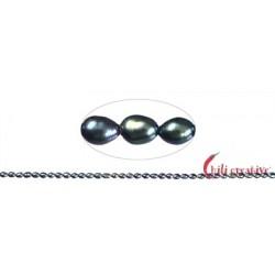 Strang Reiskorn Süßwasser-Perle A petrol (gefärbt) 4-5 mm