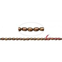 Strang Reiskorn Süßwasser-Perle A braun (gefärbt) 6-7 mm