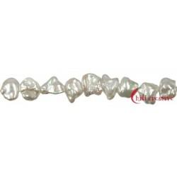 Strang Keshi Süßwasser-Perle weiß 8-9 mm