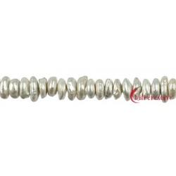 Strang Keshi Süßwasser-Perle weiß 5 x 10 mm