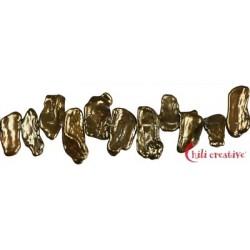 Strang flach Süßwasser-Perle Ab bronze (gefärbt) 6 x 15 mm
