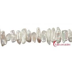 Strang Stäbchen Süßwasser-Perle weiß 7-9 x 20-25 x 4-5 mm