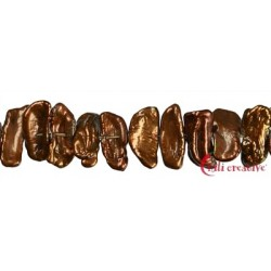 Strang flach Süßwasser-Perle Ab braun (gefärbt) 6 x 15-18mm