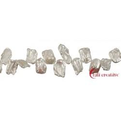 Strang flach Süßwasser-Perle weiß 8-12 x 14-20 x 3-4 mm