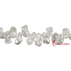 Strang flach Süßwasser-Perle weiß 12-15 x 20-25 x 3-4 mm