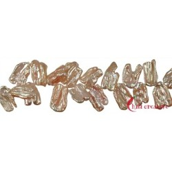 Strang flach Süßwasser-Perle orange-rosa (natur) 12-15 x 20-25 mm