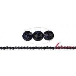Strang Kugel Blaufluss (Kunstglas) facettiert 6 mm