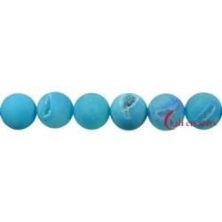 Strang Kugel Achat (Schlange) blau (gefärbt) matt 16 mm