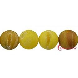Strang Kugel Achat (Schlange) gelb (gefärbt) matt 16 mm