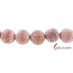 Strang Kugel Achat (Schlange) rot (gefärbt) matt 20 mm