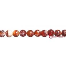 Strang Kugel Achat (Schlange) rot (gefärbt). facettiert 10 mm