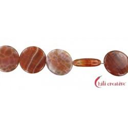 Strang Coin Achat (Schlange) rot (gefärbt) 20 mm