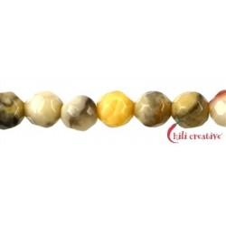 Strang Kugel Achat Lace gelb facettiert 4 mm