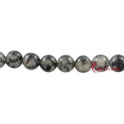 Strang Kugel Achat (Schlange) schwarz (gefärbt) 12 mm