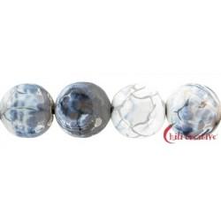 Strang Kugel Achat (Schlange) weiß-schwarz (gefärbt) 16 mm