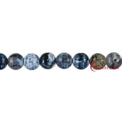 Strang Kugel Achat (Schlange) schwarz (gefärbt) facettiert 16 mm