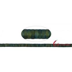 Strang Zylinder ( Heishi ) Hämatin blau-grün (gefärbt) matt 1 x 3 mm