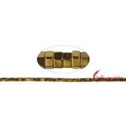 Strang Zylinder ( Heishi ) Hämatin gold (gefärbt) facettiert 1 x 2 mm