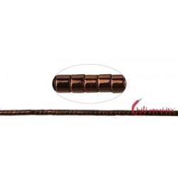Strang Zylinder ( Heishi ) Hämatin braun (gefärbt) 1 x 1mm