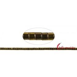 Strang Zylinder ( Heishi ) Hämatin gold (gefärbt) 1 x 1mm