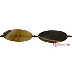 Strang Linse Achat braun (gefärbt) 60 x 25 mm