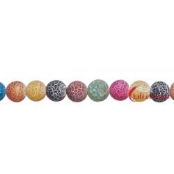 Strang Kugel Achat (Schlange) bunt (gefärbt) matt 20 mm