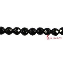 Strang Kugel Spinell (schwarz) facettiert 3 mm