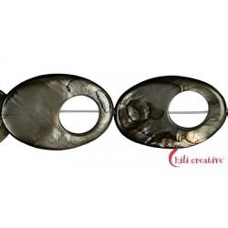 Strang Fischauge Perlmutt silber dunkel (gefärbt) 30 x 20 x 4 mm