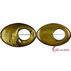 Strang Fischauge gold (gefärbt) 30 x 20 x 4 mm