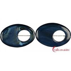 Strang Fischauge Perlmutt dunkelblau blau (gefärbt) 30 x 20 x 4 mm