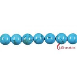 Strang Kugel Turquenit (Magnesit blau gefärbt) 10 mm