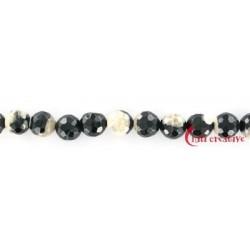 Strang Kugel Achat (Moonlight) weiß-scharz (gefärbt) facettiert 10 mm