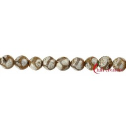 Strang Kugel Achat Fussball braun (gefärbt) facettiert 12 mm