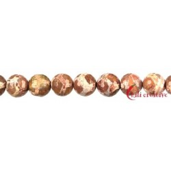 Strang Kugel Achat Fußball rot (gefärbt) facettiert 14 mm