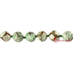 Strang Kugel Achat Fußball grün (gefärbt) facettiert 14 mm