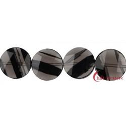 Strang Coin Obsidian (Lamellen-Obsidian) facettiert 15 mm