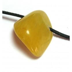 Trommelstein gebohrt Chalcedon gelb