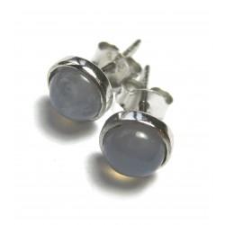 Ohrstecker Chalcedon Cabochon 6 mm 925er Silber